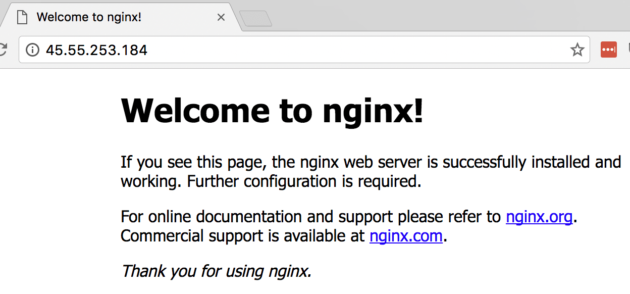 Nginx working on node 1